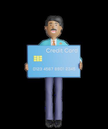 Joyful south Indian businessman standing and holding credit card 3D Illustration