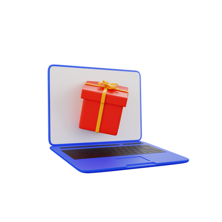 Laptop Gift 3D Illustration