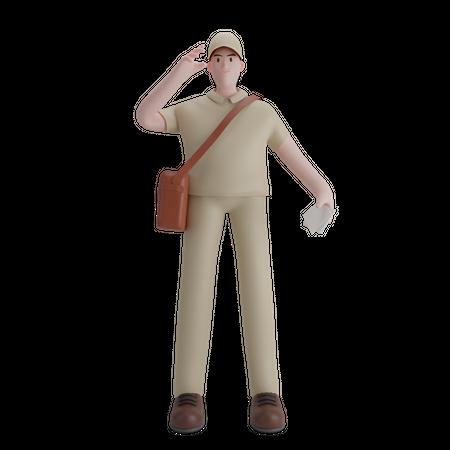 Male postman 3D Illustration