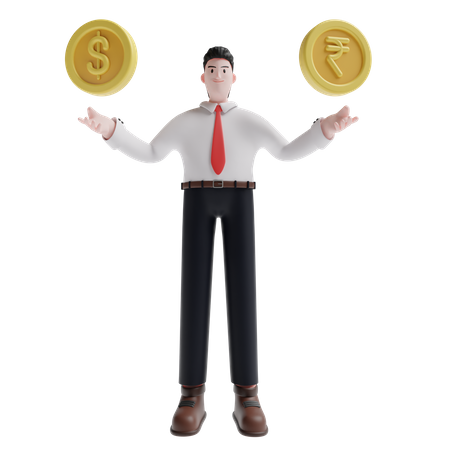 Man showing dollar and rupee 3D Illustration