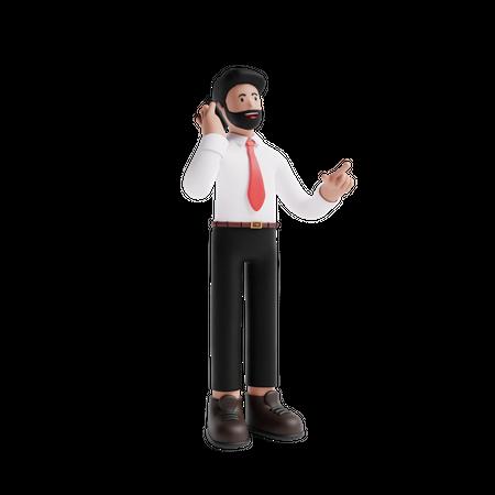 Man talking on phone 3D Illustration
