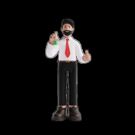 Man using Sanitizer 3D Illustration