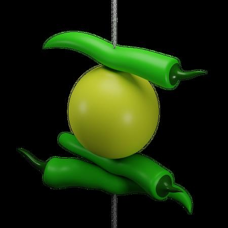 Nimbu mirchi 3D Illustration
