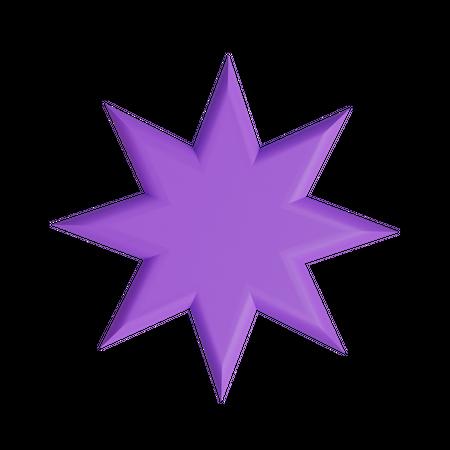 Octagram 3D Illustration