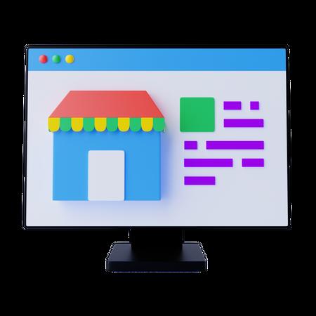 Online Shopping Store 3D Illustration