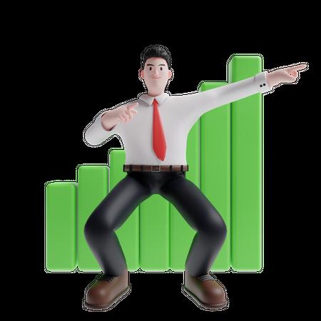Salesman indicating sales growth 3D Illustration