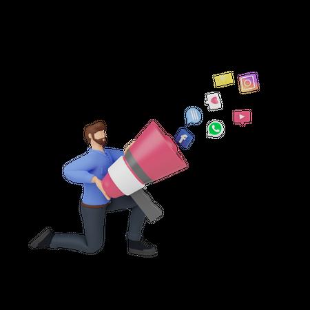 Social media marketing 3D Illustration