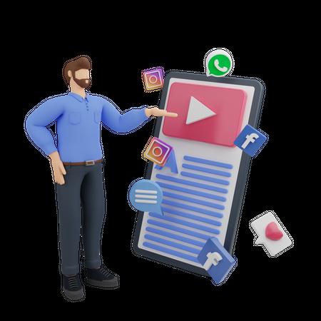 Social media marketing in mobile online 3D Illustration