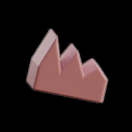 Three Point Graph 3D Illustration