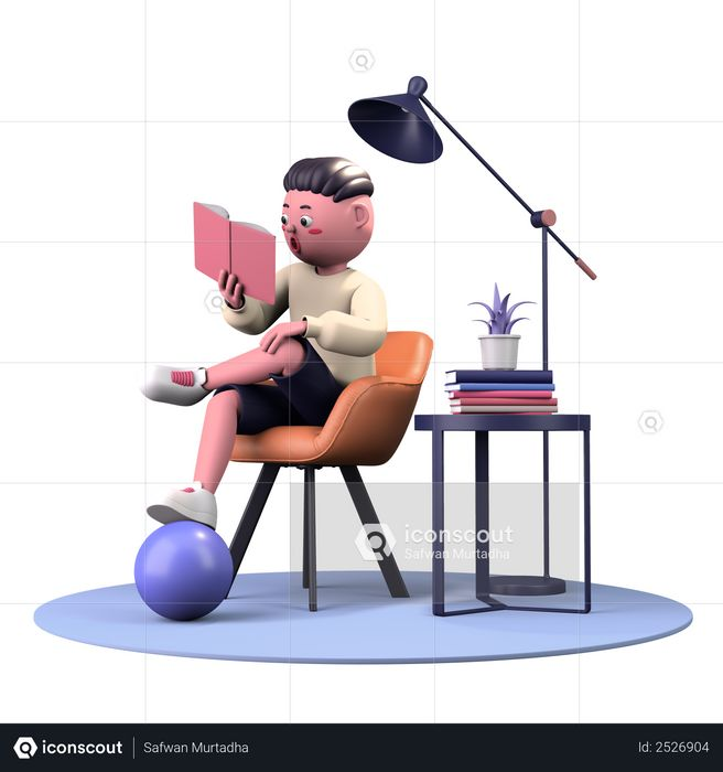 Reading Book 3D Illustration