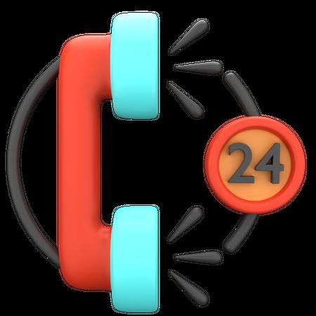 24 Hours Service 3D Illustration