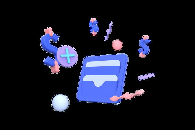 Add Money to Wallet 3D Illustration