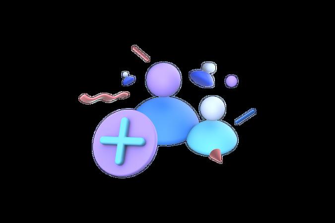 Add New Group 3D Illustration