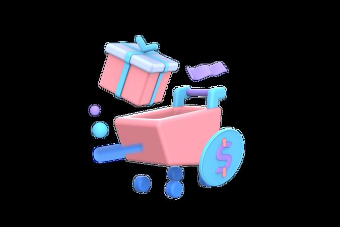 Adding gift in cart 3D Illustration