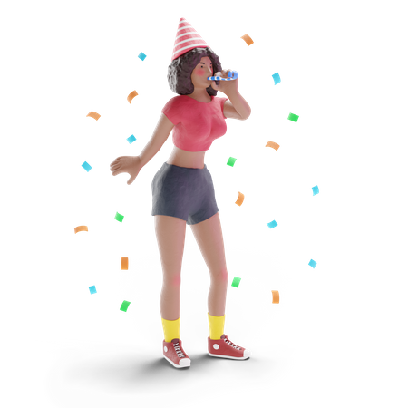 African american teenage girl celebrating party 3D Illustration