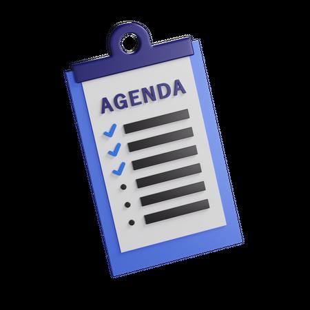 Agenda 3D Illustration