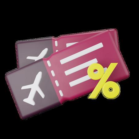 Airplane Ticket Discount 3D Illustration