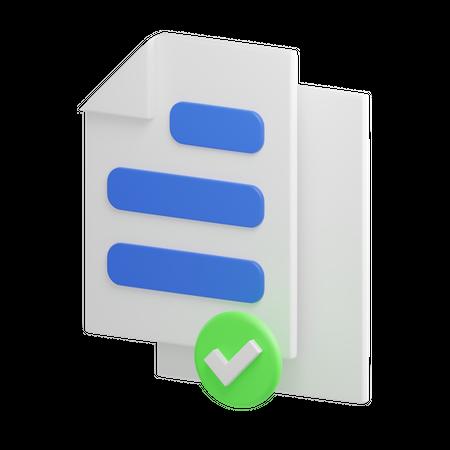 Approved File 3D Illustration