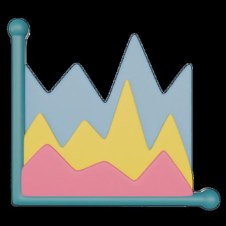 Area Chart 3D Illustration