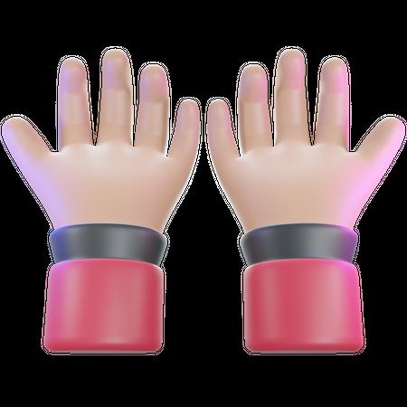 Ask hand gesture 3D Illustration