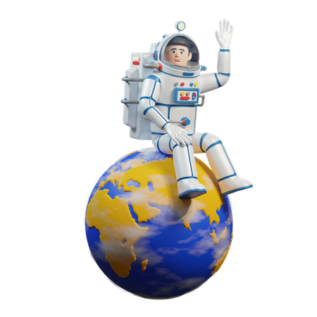 Astronaut in spacesuit sits on the planet earth 3D Illustration