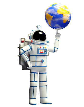 Astronaut in spacesuit twirls the planet earth on his finger 3D Illustration
