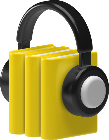 Audio books 3D Illustration