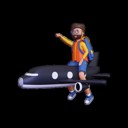Backpacker travelling in plane 3D Illustration