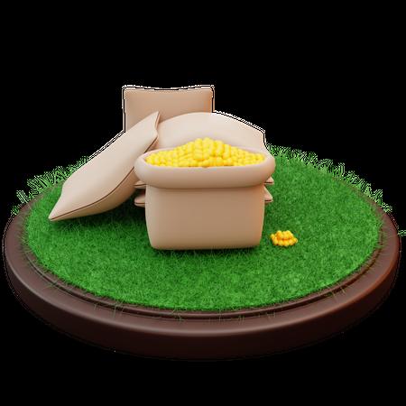 Bag Of Seeds 3D Illustration
