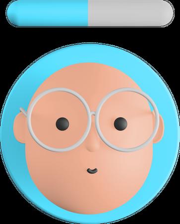 Bald man avatar 3D Illustration