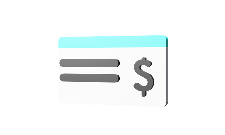 Bank Cheque 3D Illustration