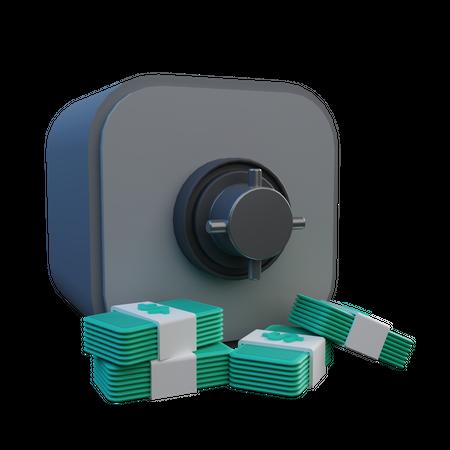 Bank Locker And Money Stacks 3D Illustration