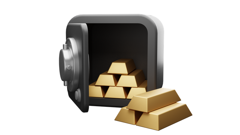 Bank Locker with Gold Bars 3D Illustration