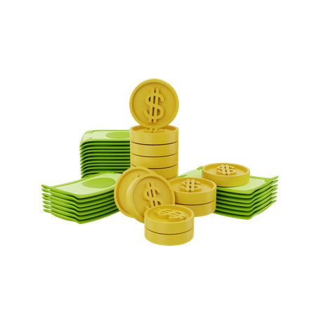 Banknotes And Coin 3D Illustration