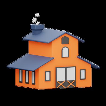 Barn house 3D Illustration