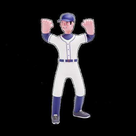 Baseball Player doing celebration 3D Illustration