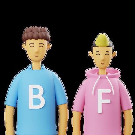 Best Friends 3D Illustration
