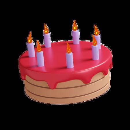 Birthday Cake 3D Illustration
