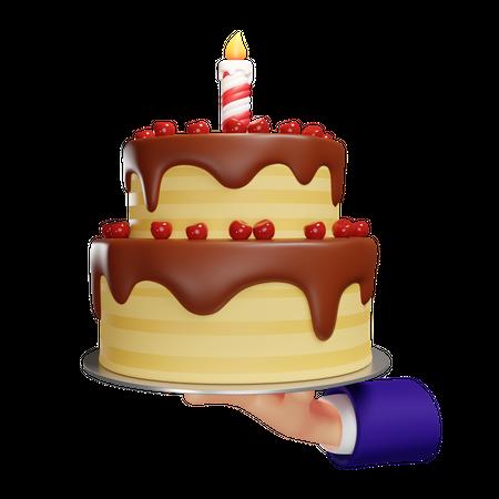 Birthday Cake In Hand 3D Illustration
