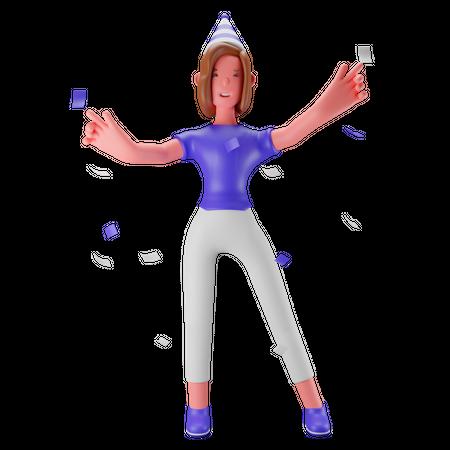 Birthday Girl 3D Illustration