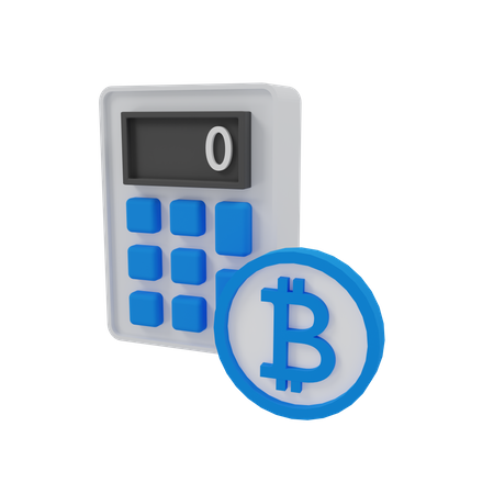 Bitcoin Calculator 3D Illustration