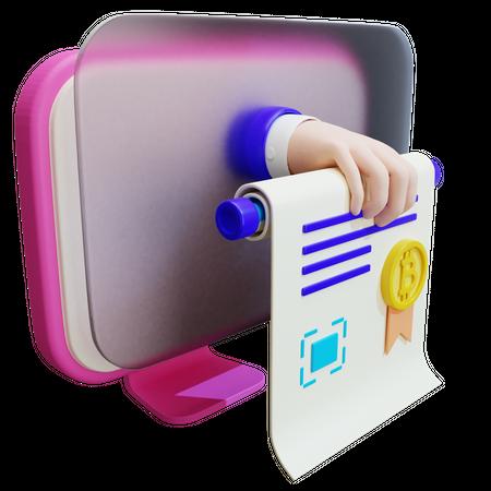 Bitcoin Certificate 3D Illustration
