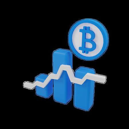 Bitcoin Growth Graph 3D Illustration
