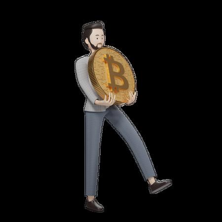 Bitcoin Holder 3D Illustration