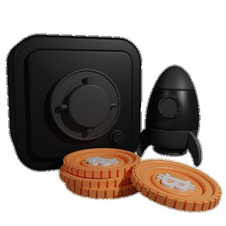 Bitcoin Locker 3D Illustration