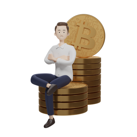 Bitcoin Manager 3D Illustration
