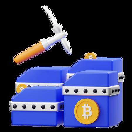 Bitcoin Mining 3D Illustration