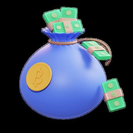 Bitcoin Money Bag 3D Illustration
