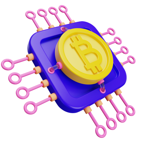Bitcoin Processor 3D Illustration