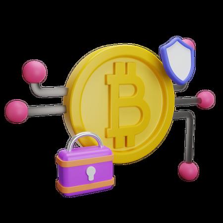 Bitcoin Security 3D Illustration